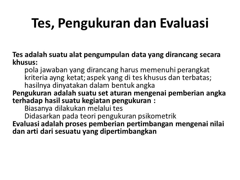 Tes, Pengukuran dan Evaluasi Tes adalah suatu alat pengumpulan data yang dirancang secara khusus: pola jawaban yang dirancang harus memenuhi perangkat