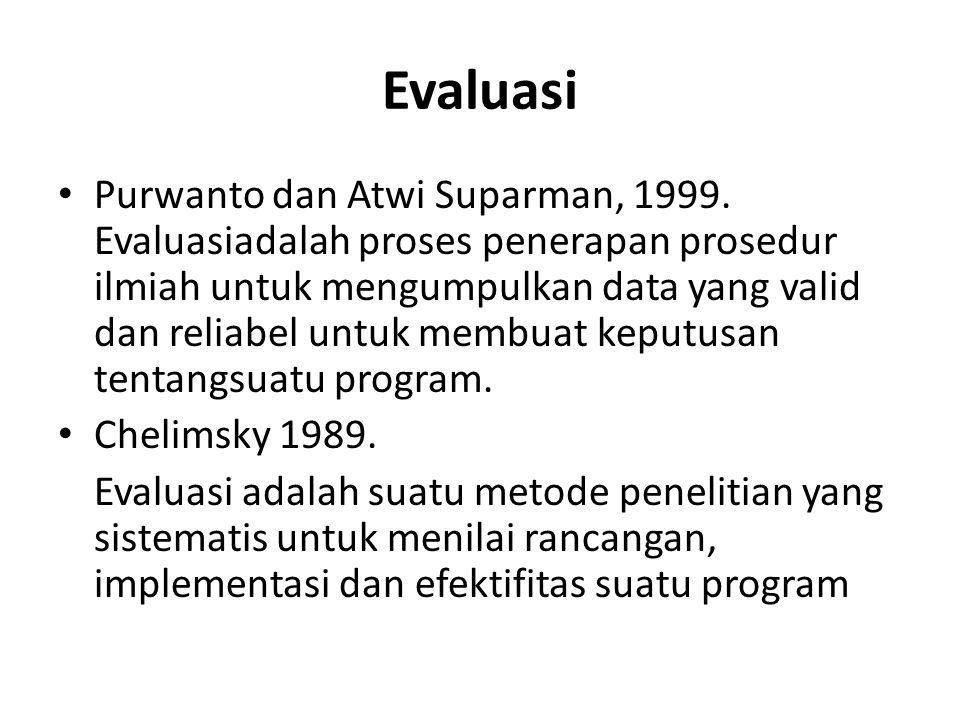 Evaluasi Purwanto dan Atwi Suparman, 1999. Evaluasiadalah proses penerapan prosedur ilmiah untuk mengumpulkan data yang valid dan reliabel untuk membu