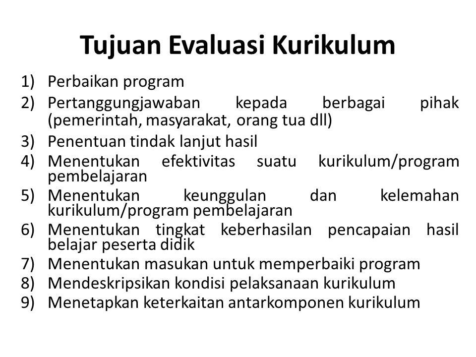 Tujuan Evaluasi Kurikulum 1)Perbaikan program 2)Pertanggungjawaban kepada berbagai pihak (pemerintah, masyarakat, orang tua dll) 3)Penentuan tindak la