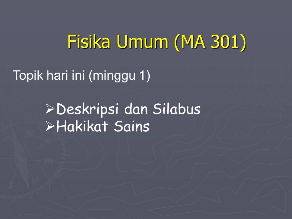 Fisika Umum (MA 301)  Deskripsi dan Silabus  Hakikat Sains Topik hari ini (minggu 1)