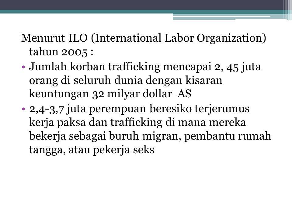 Menurut ILO (International Labor Organization) tahun 2005 : Jumlah korban trafficking mencapai 2, 45 juta orang di seluruh dunia dengan kisaran keuntu
