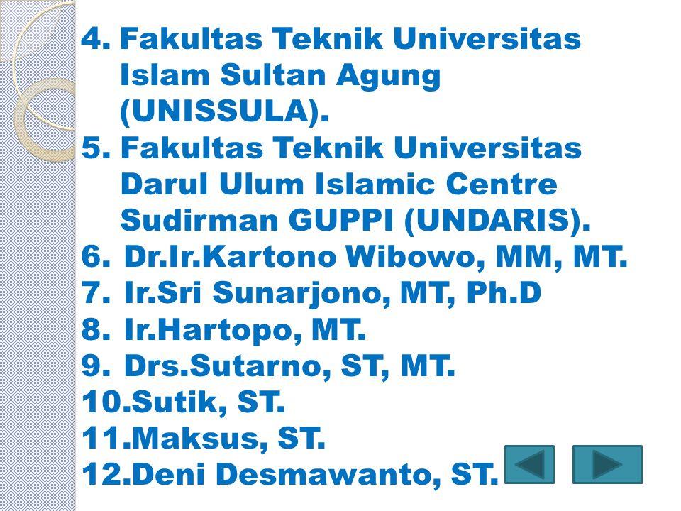 4.Fakultas Teknik Universitas Islam Sultan Agung (UNISSULA). 5.Fakultas Teknik Universitas Darul Ulum Islamic Centre Sudirman GUPPI (UNDARIS). 6.Dr.Ir