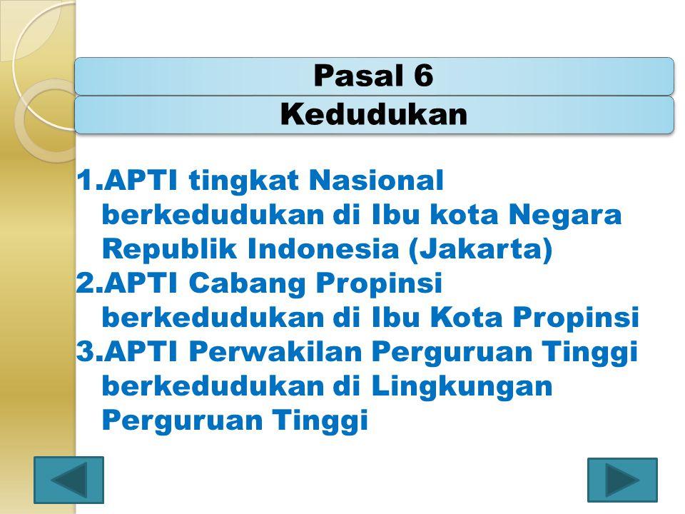 Pasal 6Kedudukan 1.APTI tingkat Nasional berkedudukan di Ibu kota Negara Republik Indonesia (Jakarta) 2.APTI Cabang Propinsi berkedudukan di Ibu Kota