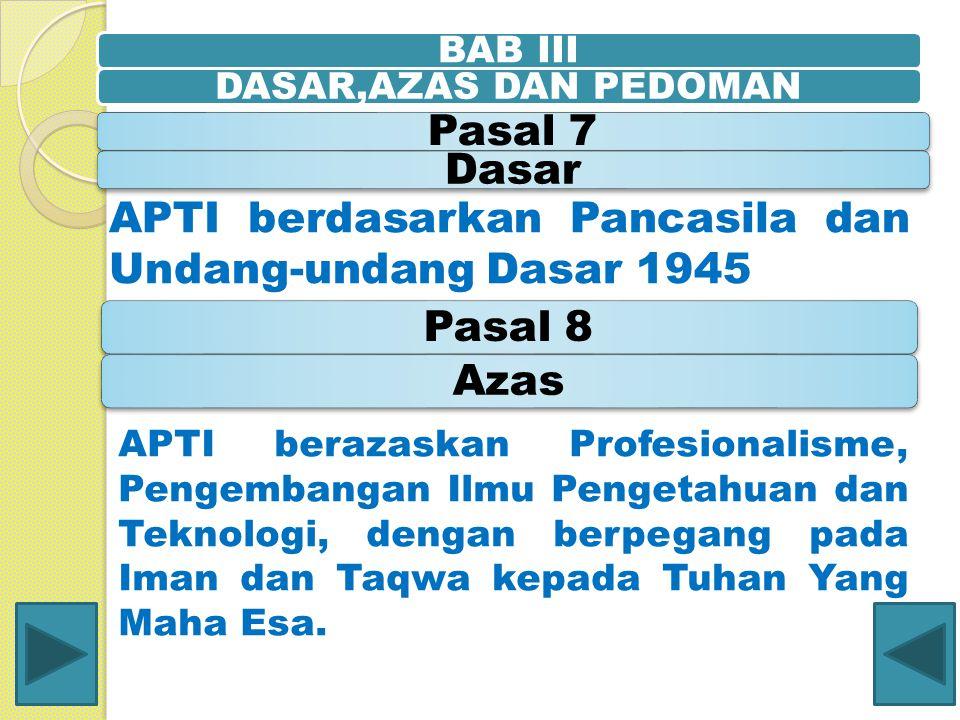 BAB IIIDASAR,AZAS DAN PEDOMAN Pasal 7Dasar APTI berdasarkan Pancasila dan Undang-undang Dasar 1945 Pasal 8Azas APTI berazaskan Profesionalisme, Pengem