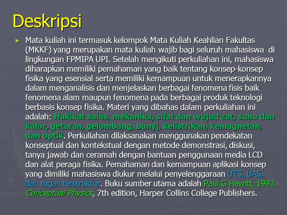 Deskripsi ► Mata kuliah ini termasuk kelompok Mata Kuliah Keahlian Fakultas (MKKF) yang merupakan mata kuliah wajib bagi seluruh mahasiswa di lingkungan FPMIPA UPI.
