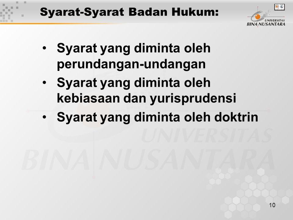 10 Syarat-Syarat Badan Hukum: Syarat yang diminta oleh perundangan-undangan Syarat yang diminta oleh kebiasaan dan yurisprudensi Syarat yang diminta o