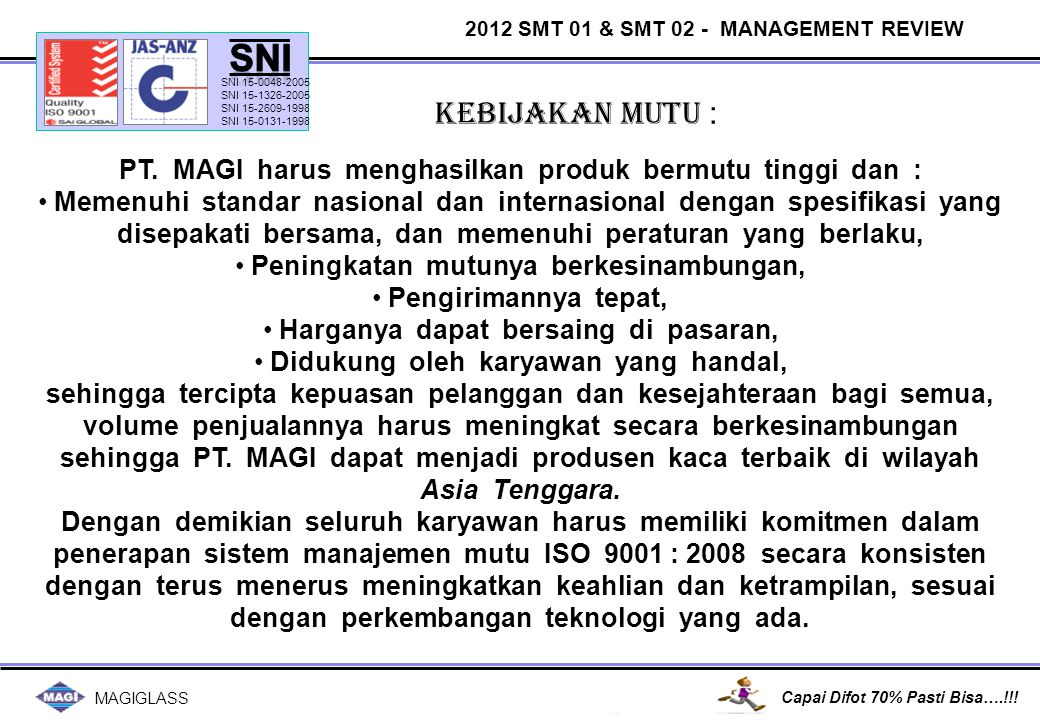 MAGIGLASS Capai Difot 70% Pasti Bisa….!!! QUALITY OBJECTIVE PERFORMANCE 2012 Achieve :Not Achieve :