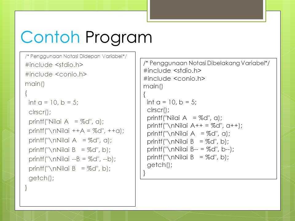 Contoh Program /* Penggunaan Notasi Didepan Variabel*/ #include main() { int a = 10, b = 5; clrscr(); printf(