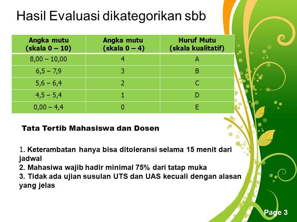 Free Powerpoint Templates Page 3 Hasil Evaluasi dikategorikan sbb Angka mutu (skala 0 – 10) Angka mutu (skala 0 – 4) Huruf Mutu (skala kualitatif) 8,0