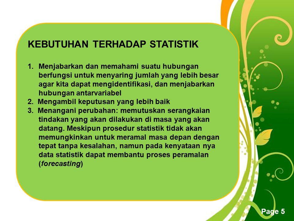 Free Powerpoint Templates Page 5 KEBUTUHAN TERHADAP STATISTIK 1.Menjabarkan dan memahami suatu hubungan berfungsi untuk menyaring jumlah yang lebih be