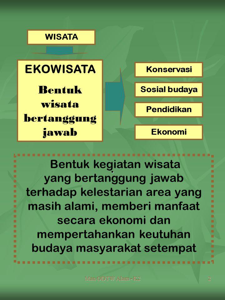 Man ODTW Alam - K22. WISATA EKOWISATA Bentuk wisata bertanggung jawab Sosial budaya Konservasi Pendidikan Ekonomi Bentuk kegiatan wisata yang bertangg
