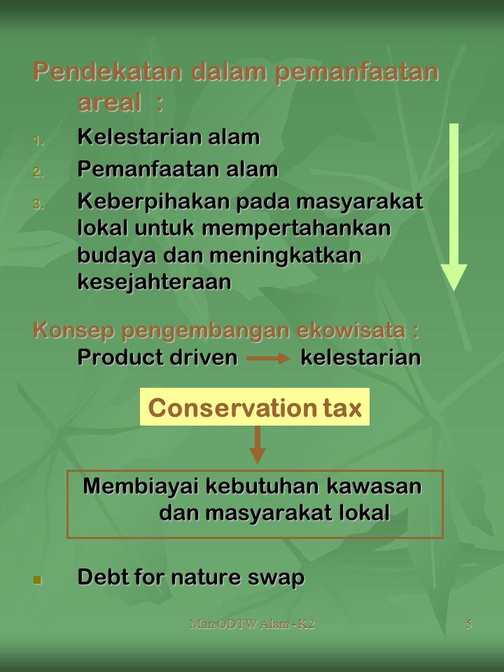 Man ODTW Alam - K25 Pendekatan dalam pemanfaatan areal : 1. Kelestarian alam 2. Pemanfaatan alam 3. Keberpihakan pada masyarakat lokal untuk mempertah
