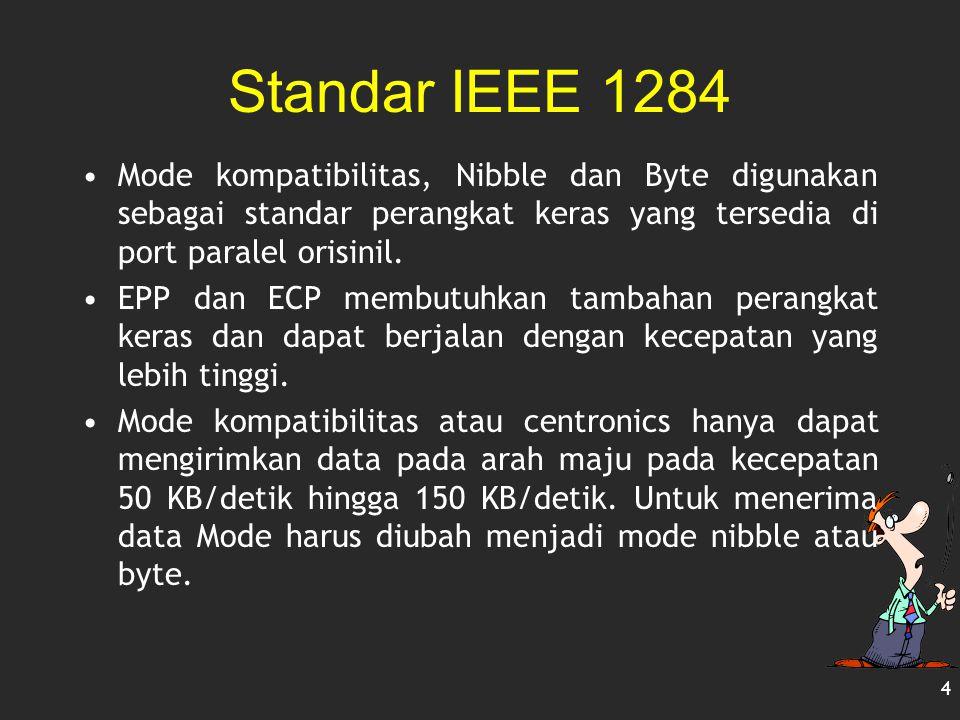 Standar IEEE 1284 Mode kompatibilitas, Nibble dan Byte digunakan sebagai standar perangkat keras yang tersedia di port paralel orisinil. EPP dan ECP m