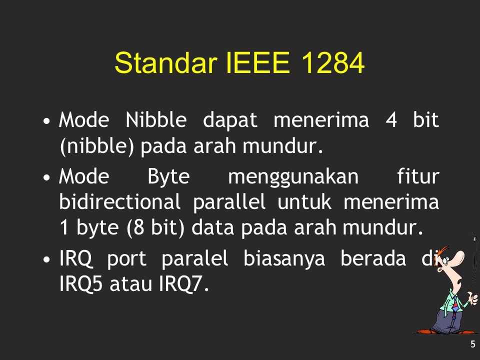 Standar IEEE 1284 Mode Nibble dapat menerima 4 bit (nibble) pada arah mundur. Mode Byte menggunakan fitur bidirectional parallel untuk menerima 1 byte