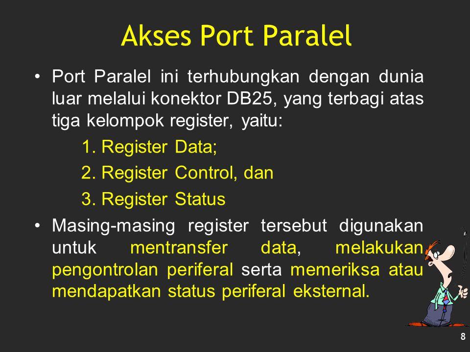 Akses Port Paralel Port Paralel ini terhubungkan dengan dunia luar melalui konektor DB25, yang terbagi atas tiga kelompok register, yaitu: 1. Register