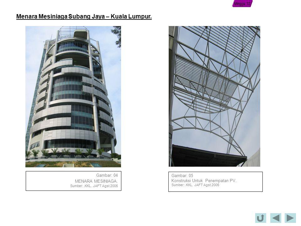 Gambar: 04 MENARA MESINIAGA.Sumber:.KKL. JAFT Agst.2005 Gambar: 05 Konstruksi Untuk Penempatan PV.