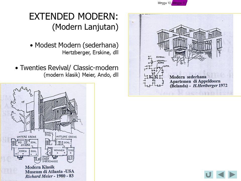 EXTENDED MODERN: (Modern Lanjutan) Modest Modern (sederhana) Hertzberger, Erskine, dll Twenties Revival/ Classic-modern (modern klasik) Meier, Ando, dll Minggu 11