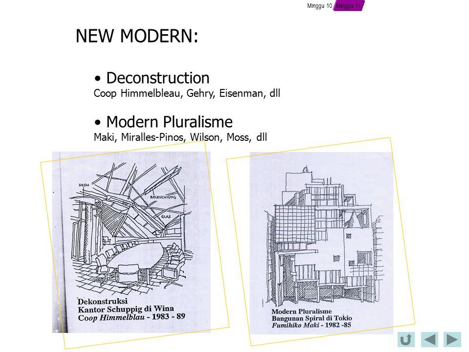 NEW MODERN: Deconstruction Coop Himmelbleau, Gehry, Eisenman, dll Modern Pluralisme Maki, Miralles-Pinos, Wilson, Moss, dll Minggu 10 Minggu 11