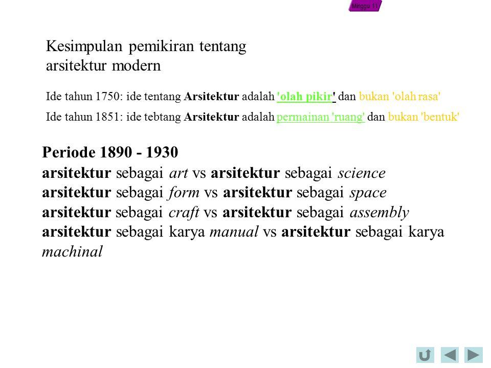 Ide tahun 1750: ide tentang Arsitektur adalah olah pikir dan bukan olah rasa Ide tahun 1851: ide tebtang Arsitektur adalah permainan ruang dan bukan bentuk Kesimpulan pemikiran tentang arsitektur modern arsitektur sebagai art vs arsitektur sebagai science arsitektur sebagai form vs arsitektur sebagai space arsitektur sebagai craft vs arsitektur sebagai assembly arsitektur sebagai karya manual vs arsitektur sebagai karya machinal Periode 1890 - 1930 Minggu 11
