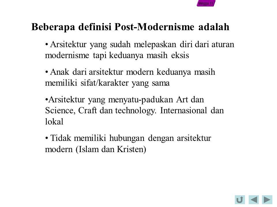 Beberapa definisi Post-Modernisme adalah Arsitektur yang sudah melepaskan diri dari aturan modernisme tapi keduanya masih eksis Anak dari arsitektur modern keduanya masih memiliki sifat/karakter yang sama Arsitektur yang menyatu-padukan Art dan Science, Craft dan technology.