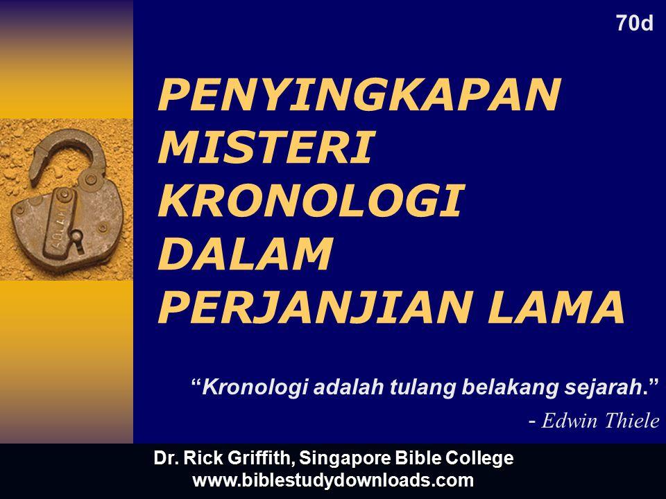 PENYINGKAPAN MISTERI KRONOLOGI DALAM PERJANJIAN LAMA Kronologi adalah tulang belakang sejarah. - Edwin Thiele 70d Dr.