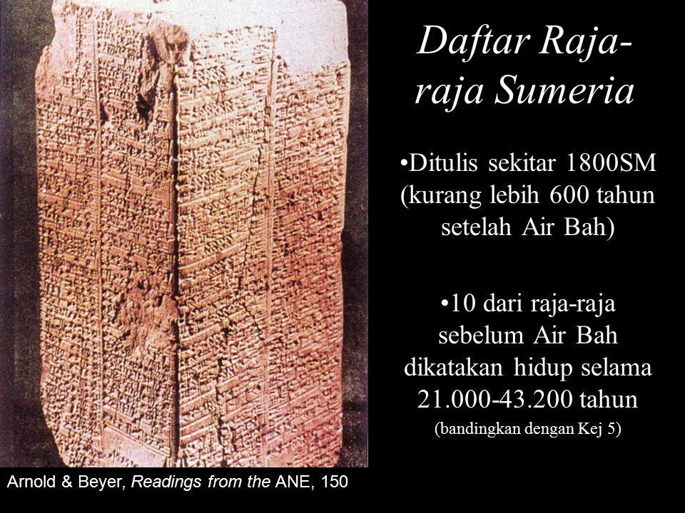 Daftar Raja- raja Sumeria Ditulis sekitar 1800SM (kurang lebih 600 tahun setelah Air Bah) 10 dari raja-raja sebelum Air Bah dikatakan hidup selama 21.000-43.200 tahun (bandingkan dengan Kej 5) Arnold & Beyer, Readings from the ANE, 150