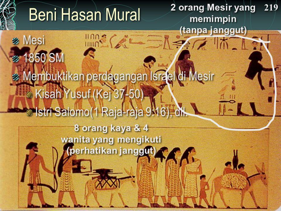 Beni Hasan Mural 219 Mesi 1850 SM Membuktikan perdagangan Israel di Mesir Kisah Yusuf (Kej 37-50) Istri Salomo(1 Raja-raja 9:16), dll.