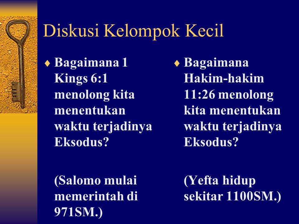 Diskusi Kelompok Kecil  Bagaimana 1 Kings 6:1 menolong kita menentukan waktu terjadinya Eksodus.