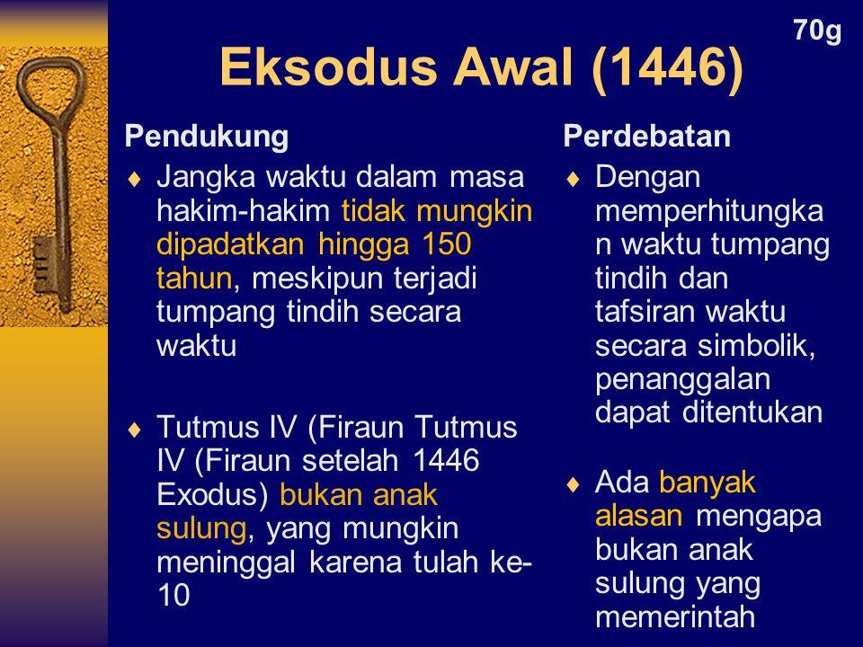 Pendukung  Jangka waktu dalam masa hakim-hakim tidak mungkin dipadatkan hingga 150 tahun, meskipun terjadi tumpang tindih secara waktu  Tutmus IV (Firaun Tutmus IV (Firaun setelah 1446 Exodus) bukan anak sulung, yang mungkin meninggal karena tulah ke- 10 Perdebatan  Dengan memperhitungka n waktu tumpang tindih dan tafsiran waktu secara simbolik, penanggalan dapat ditentukan  Ada banyak alasan mengapa bukan anak sulung yang memerintah Eksodus Awal (1446) 70g