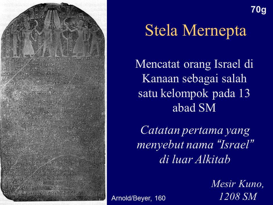 Stela Mernepta Mencatat orang Israel di Kanaan sebagai salah satu kelompok pada 13 abad SM Mesir Kuno, 1208 SM Catatan pertama yang menyebut nama Israel di luar Alkitab Arnold/Beyer, 160 70g