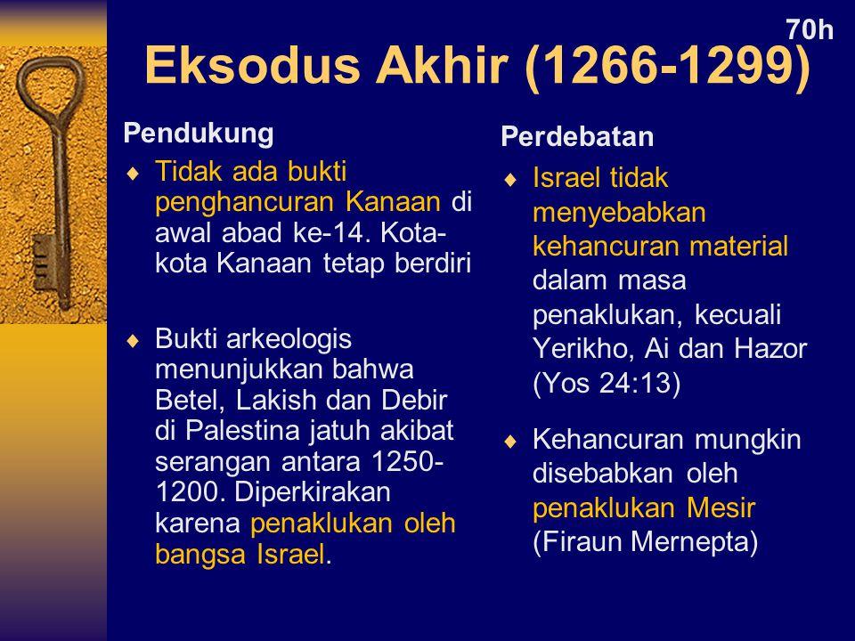 Pendukung  Tidak ada bukti penghancuran Kanaan di awal abad ke-14.