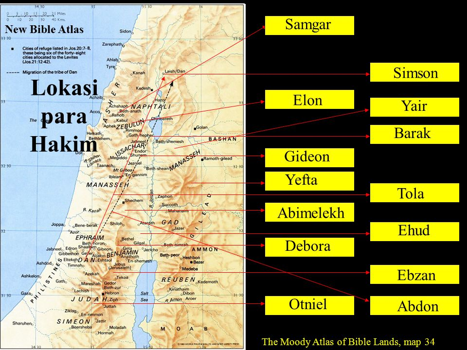 Otniel Ehud Samgar Debora Barak Gideon Abimelekh Tola Yair Yefta Ebzan Elon Abdon Simson The Moody Atlas of Bible Lands, map 34 New Bible Atlas Lokasi para Hakim