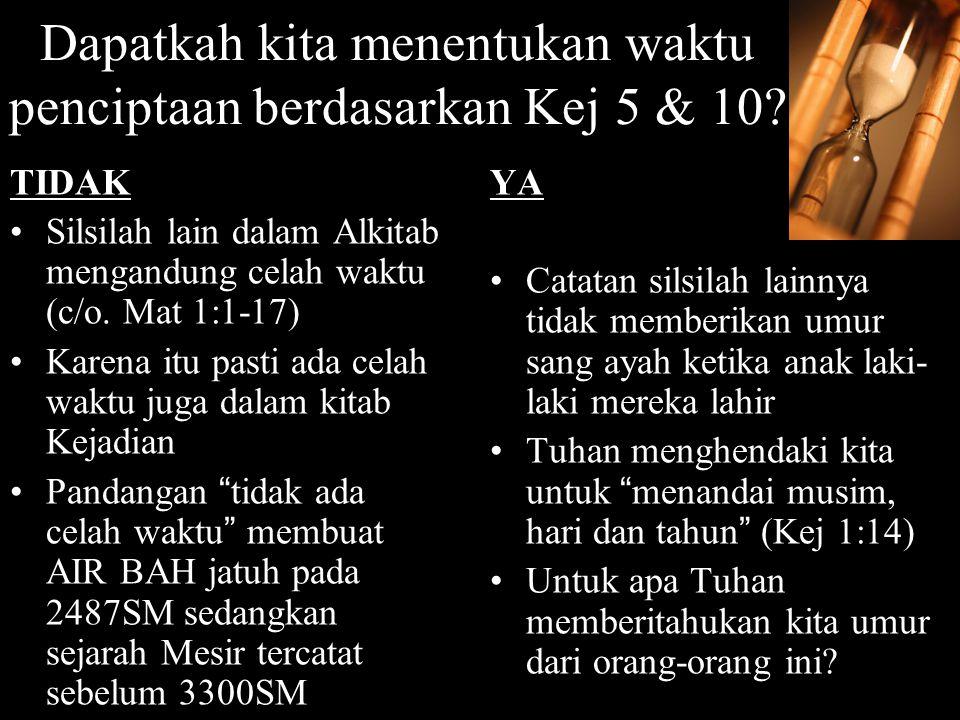  Kejadian 5 mencatat silsilah mulai dari Adam hingga Air Bah  Kejadian 11 mencatat silsilah dari Sem (anak Nuh) hingga Terah (ayah dari Abram)  Bisakah informasi dalam Kej 5 & 11 digunakan untuk menentukan waktu dari kejadian tertentu dalam sejarah.