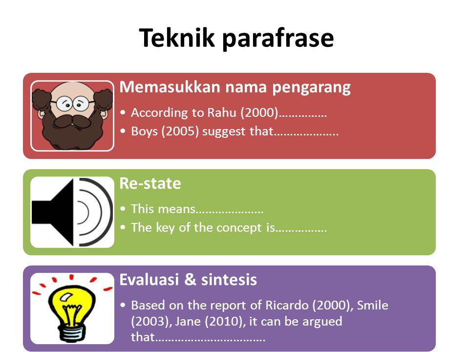 Teknik parafrase Memasukkan nama pengarang According to Rahu (2000)…………… Boys (2005) suggest that……………….. Re-state This means………………… The key of the co