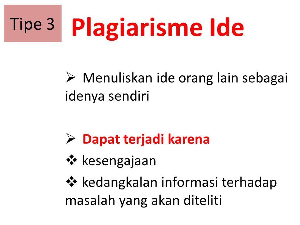 Plagiarisme Ide  Menuliskan ide orang lain sebagai idenya sendiri  Dapat terjadi karena  kesengajaan  kedangkalan informasi terhadap masalah yang
