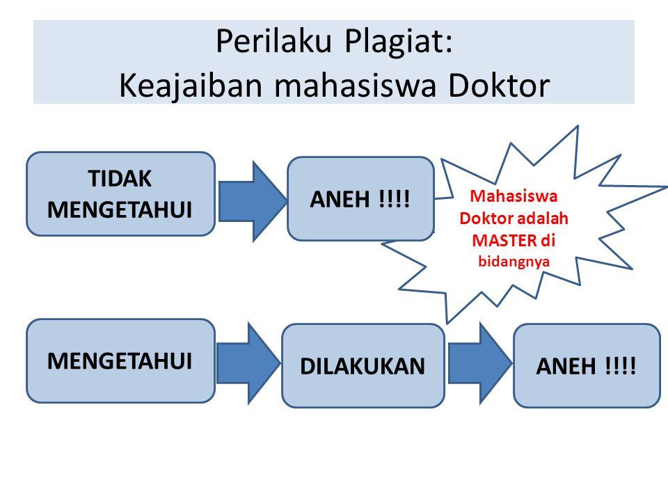 Perilaku Plagiat: Keajaiban mahasiswa Doktor TIDAK MENGETAHUI MENGETAHUI ANEH !!!!DILAKUKAN Mahasiswa Doktor adalah MASTER di bidangnya ANEH !!!!