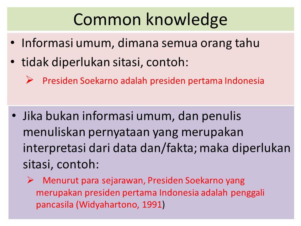 Common knowledge Informasi umum, dimana semua orang tahu tidak diperlukan sitasi, contoh:  Presiden Soekarno adalah presiden pertama Indonesia Jika b