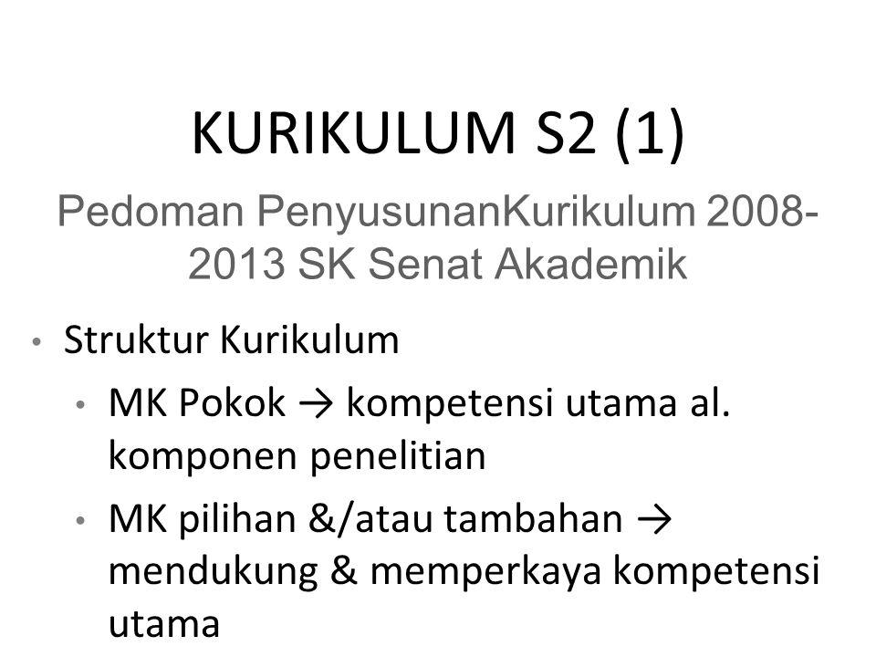 KURIKULUM S2 (1) Pedoman PenyusunanKurikulum 2008- 2013 SK Senat Akademik Struktur Kurikulum MK Pokok → kompetensi utama al.