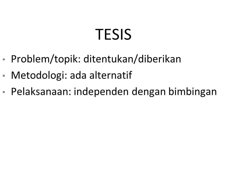 TESIS Problem/topik: ditentukan/diberikan Metodologi: ada alternatif Pelaksanaan: independen dengan bimbingan