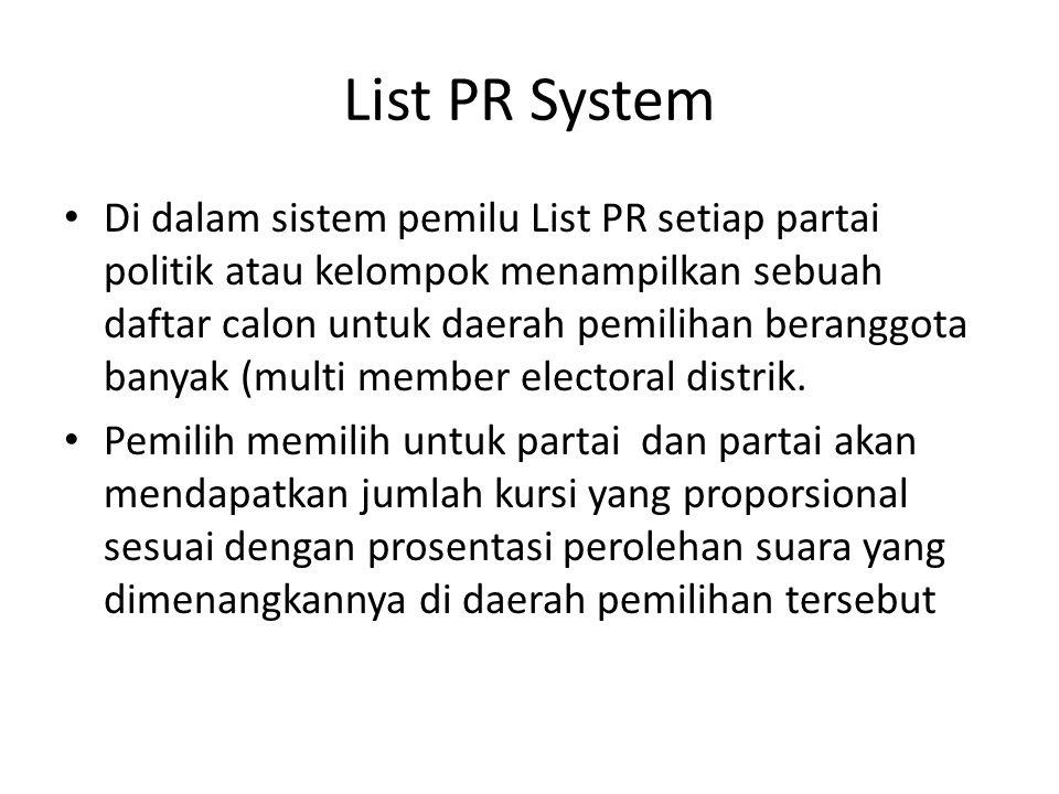 List PR System Di dalam sistem pemilu List PR setiap partai politik atau kelompok menampilkan sebuah daftar calon untuk daerah pemilihan beranggota banyak (multi member electoral distrik.