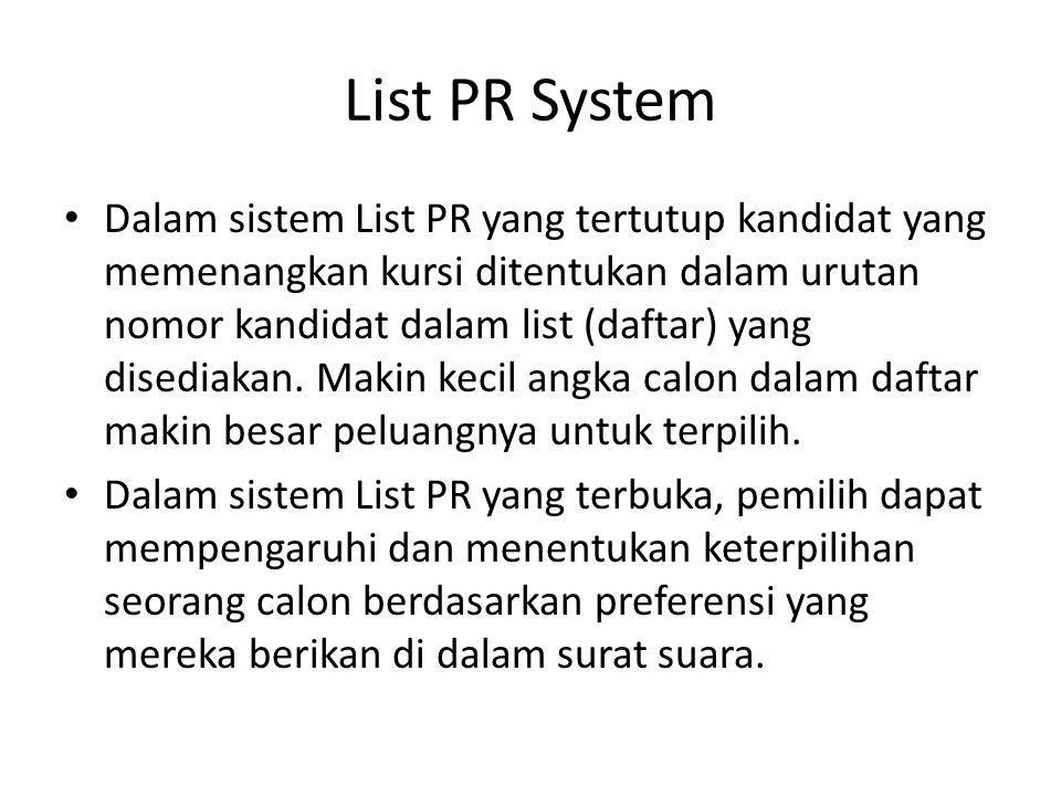 List PR System Dalam sistem List PR yang tertutup kandidat yang memenangkan kursi ditentukan dalam urutan nomor kandidat dalam list (daftar) yang dise