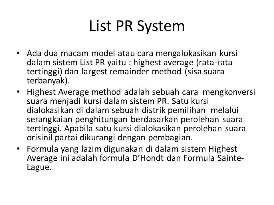 List PR System Ada dua macam model atau cara mengalokasikan kursi dalam sistem List PR yaitu : highest average (rata-rata tertinggi) dan largest remainder method (sisa suara terbanyak).
