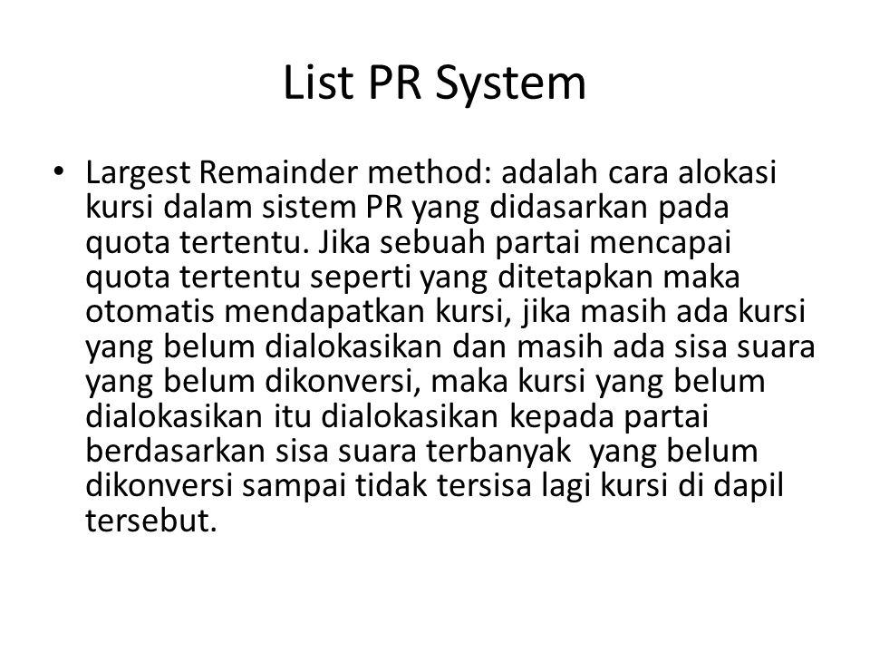 List PR System Largest Remainder method: adalah cara alokasi kursi dalam sistem PR yang didasarkan pada quota tertentu. Jika sebuah partai mencapai qu