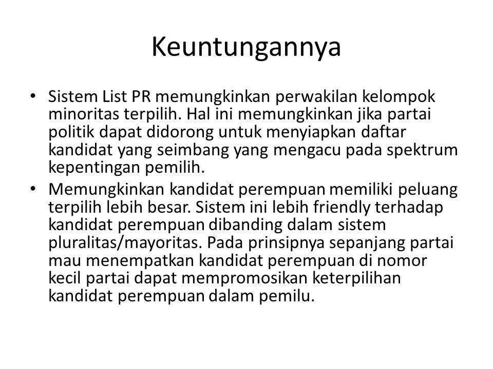 Keuntungannya Sistem List PR memungkinkan perwakilan kelompok minoritas terpilih. Hal ini memungkinkan jika partai politik dapat didorong untuk menyia