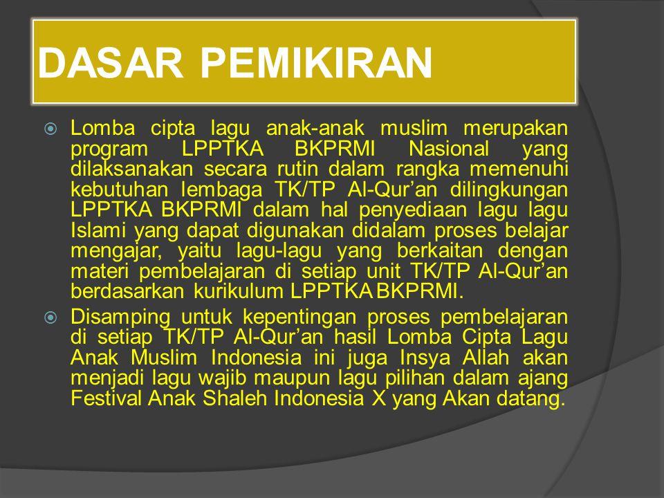 DASAR PEMIKIRAN  Lomba cipta lagu anak-anak muslim merupakan program LPPTKA BKPRMI Nasional yang dilaksanakan secara rutin dalam rangka memenuhi kebu