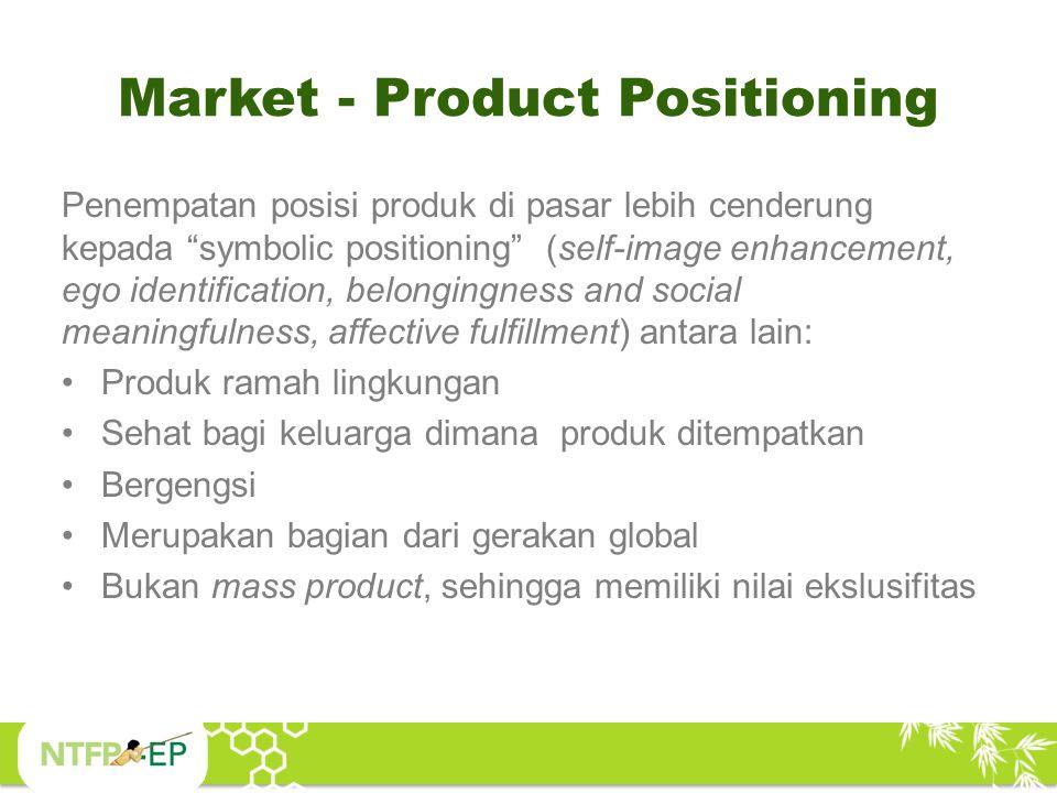 "Market - Product Positioning Penempatan posisi produk di pasar lebih cenderung kepada ""symbolic positioning"" (self-image enhancement, ego identificati"