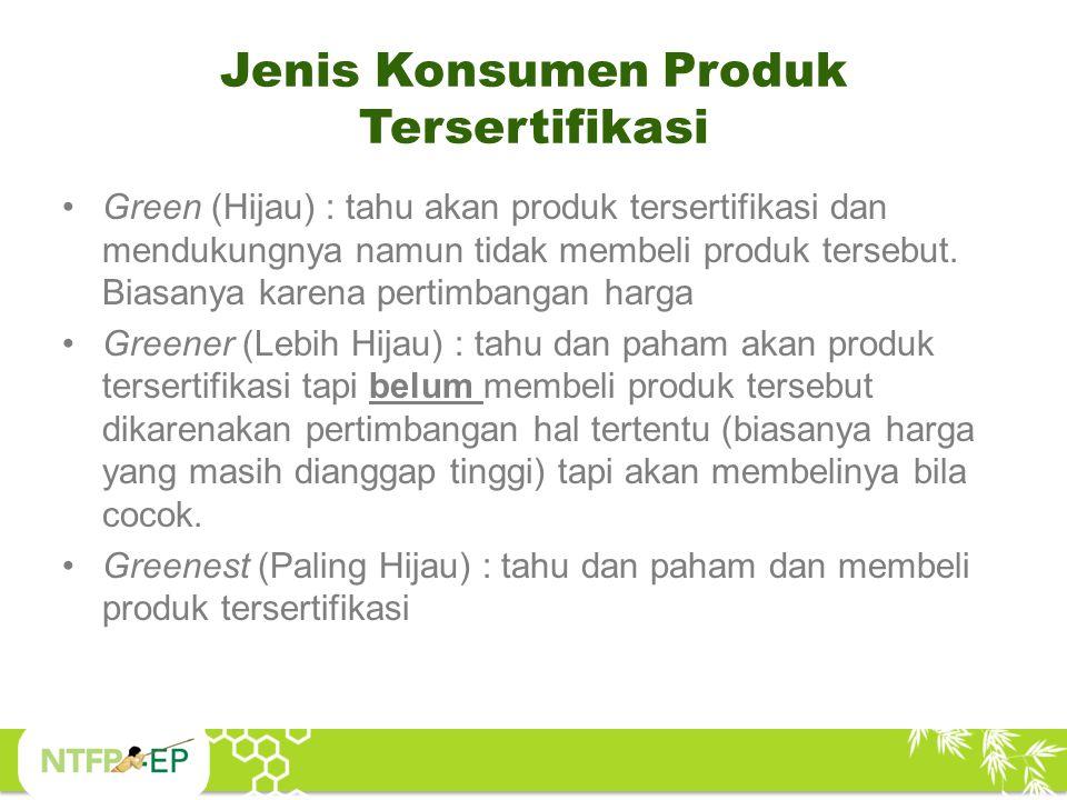 Jenis Konsumen Produk Tersertifikasi Green (Hijau) : tahu akan produk tersertifikasi dan mendukungnya namun tidak membeli produk tersebut. Biasanya ka