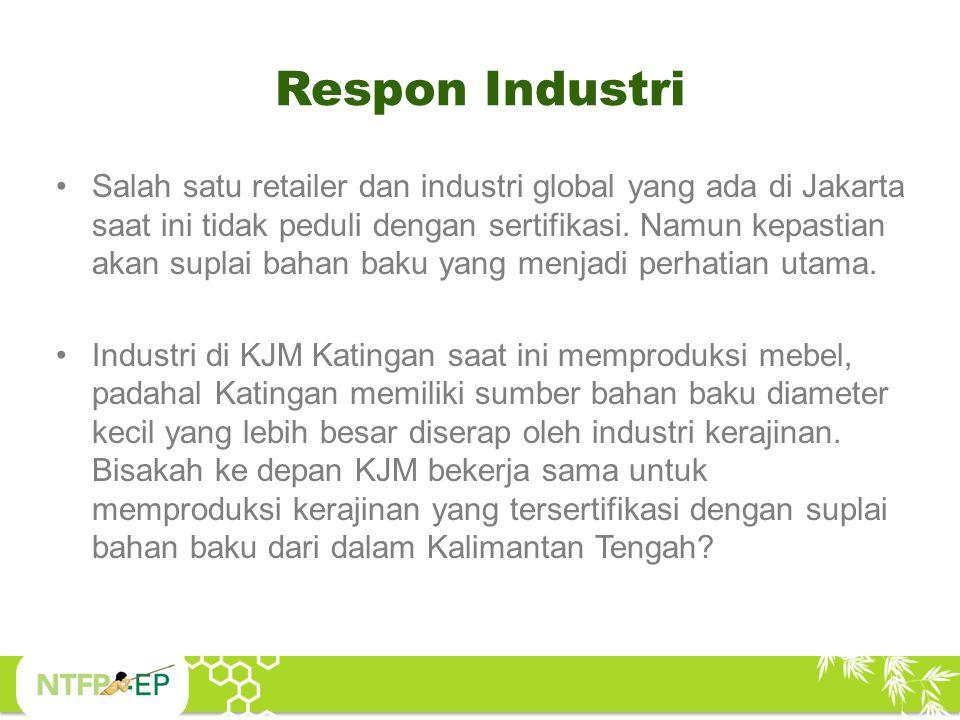 Respon Industri Salah satu retailer dan industri global yang ada di Jakarta saat ini tidak peduli dengan sertifikasi. Namun kepastian akan suplai baha