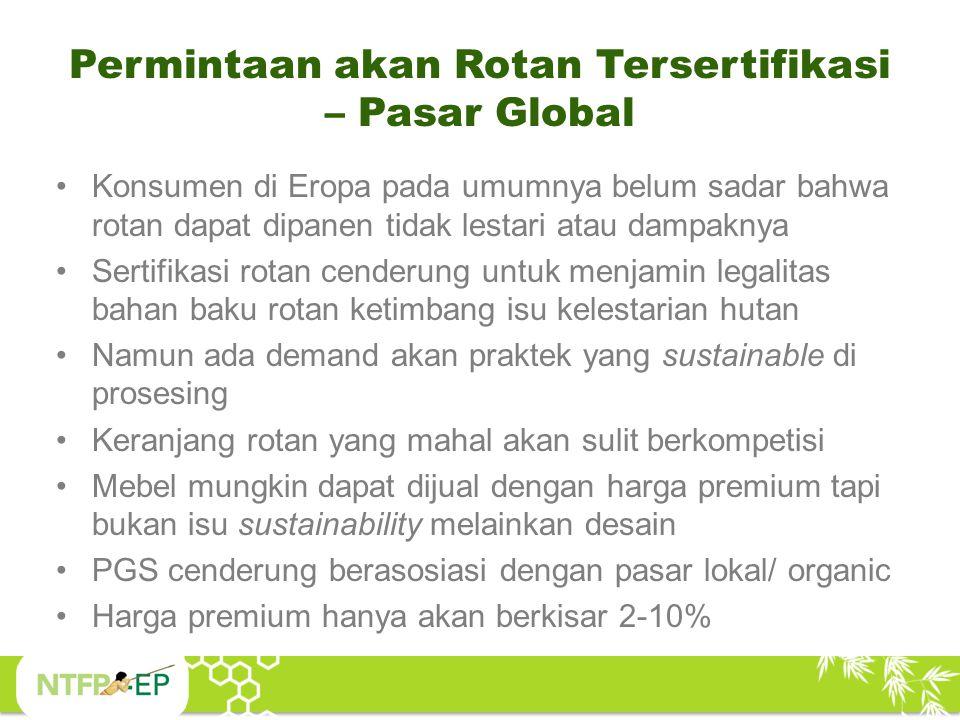 Permintaan akan Rotan Tersertifikasi – Pasar Global Konsumen di Eropa pada umumnya belum sadar bahwa rotan dapat dipanen tidak lestari atau dampaknya