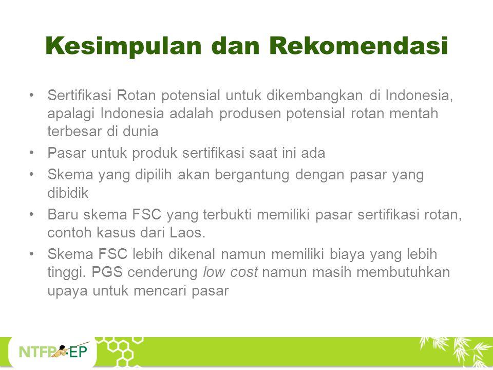 Kesimpulan dan Rekomendasi Sertifikasi Rotan potensial untuk dikembangkan di Indonesia, apalagi Indonesia adalah produsen potensial rotan mentah terbe